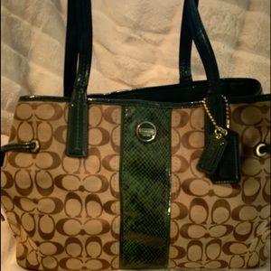 Coach signature python stripe bag
